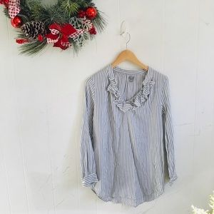Aerie Blue and White Ruffle Striped Tunic!